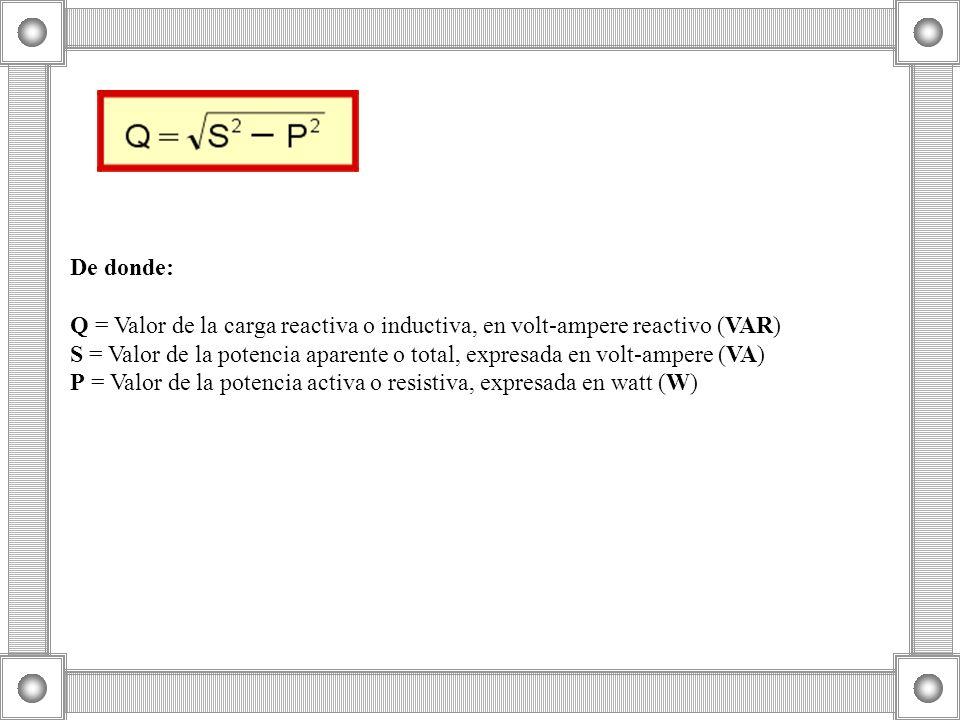 De donde: Q = Valor de la carga reactiva o inductiva, en volt-ampere reactivo (VAR) S = Valor de la potencia aparente o total, expresada en volt-amper