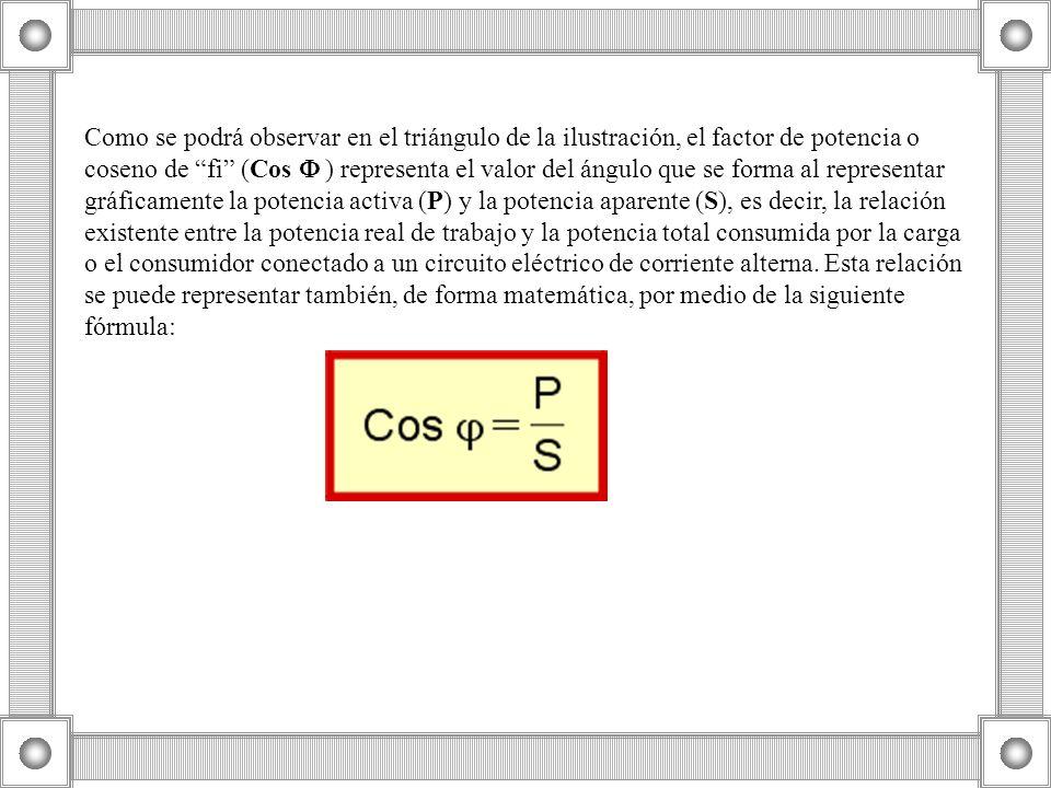 Como se podrá observar en el triángulo de la ilustración, el factor de potencia o coseno de fi (Cos ) representa el valor del ángulo que se forma al r