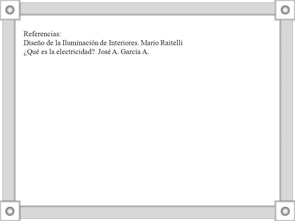 Referencias: Diseño de la Iluminación de Interiores. Mario Raitelli ¿Qué es la electricidad? José A. García A.