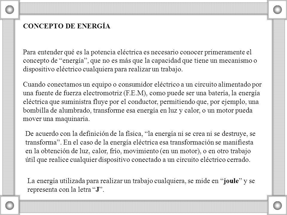 CONCEPTO DE ENERGÍA Para entender qué es la potencia eléctrica es necesario conocer primeramente el concepto de energía, que no es más que la capacida