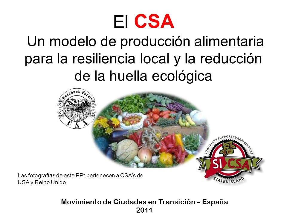CSA Community Supported Agriculture AGRICULTURA SUSTENTADA POR LA COMUNIDAD VECINAL Es una asociación entre varias familias y uno/a o más agricultores/as Los miembros asumen el sueldo del agricultor y las inversiones Los miembros son los beneficiarios de la producción Los beneficios de los excedentes se invierten en la iniciativa
