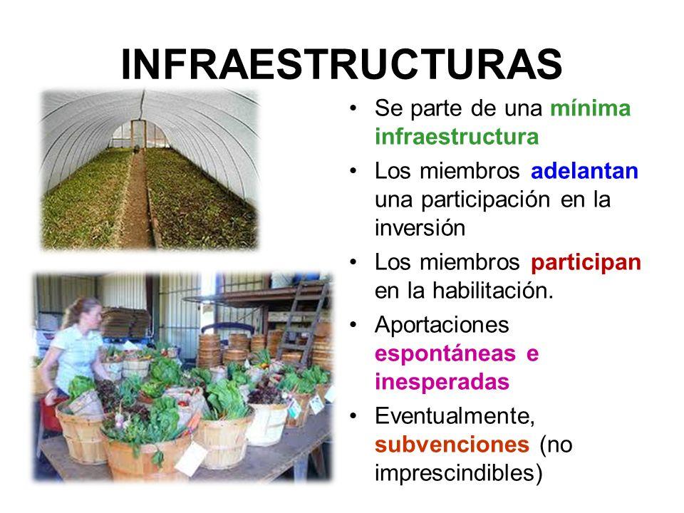 INFRAESTRUCTURAS Se parte de una mínima infraestructura Los miembros adelantan una participación en la inversión Los miembros participan en la habilitación.