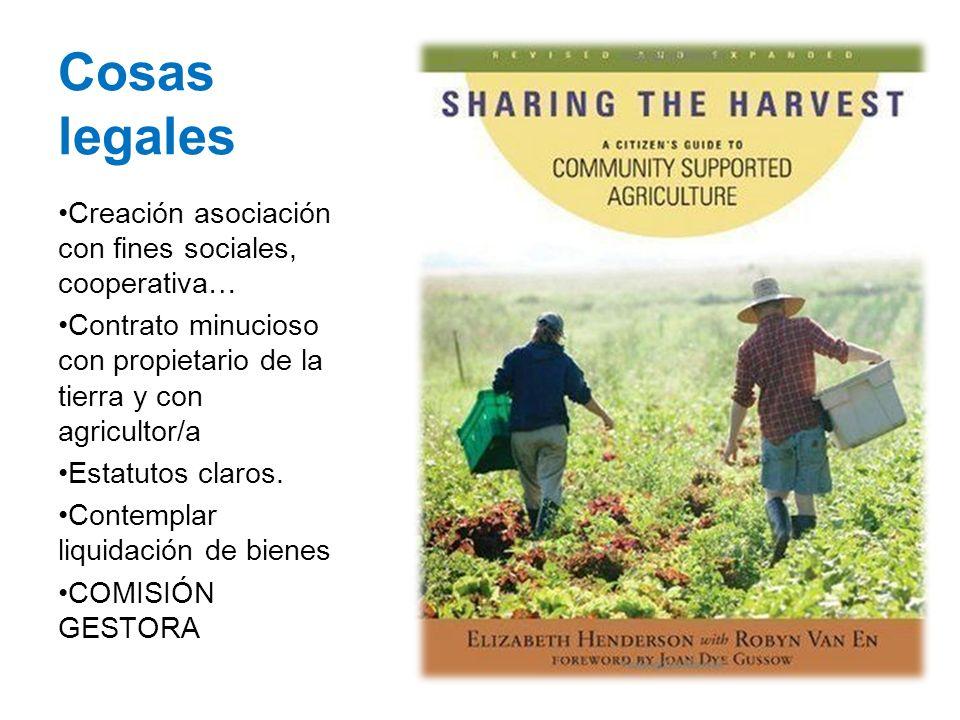 Cosas legales Creación asociación con fines sociales, cooperativa… Contrato minucioso con propietario de la tierra y con agricultor/a Estatutos claros.