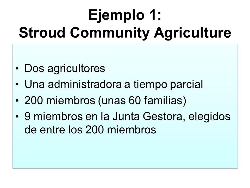 Ejemplo 1: Stroud Community Agriculture Dos agricultores Una administradora a tiempo parcial 200 miembros (unas 60 familias) 9 miembros en la Junta Gestora, elegidos de entre los 200 miembros Dos agricultores Una administradora a tiempo parcial 200 miembros (unas 60 familias) 9 miembros en la Junta Gestora, elegidos de entre los 200 miembros