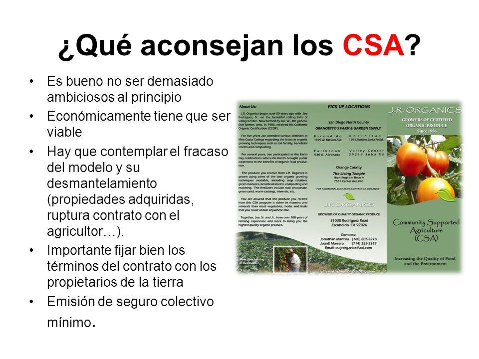 ¿Qué aconsejan los CSA.