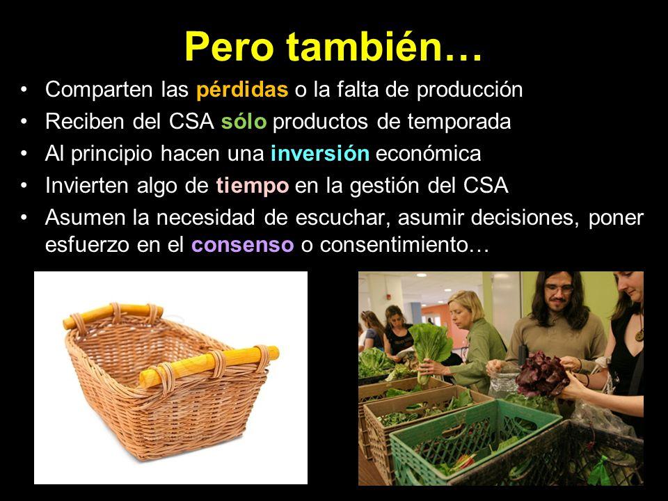 Para el/la agricultor/a… Seguridad económica (no sujeto al Mercado) Disponibilidad de dinero para invertir Ayuda física de los miembros Humanización = reconocimiento y motivación No burocracia.
