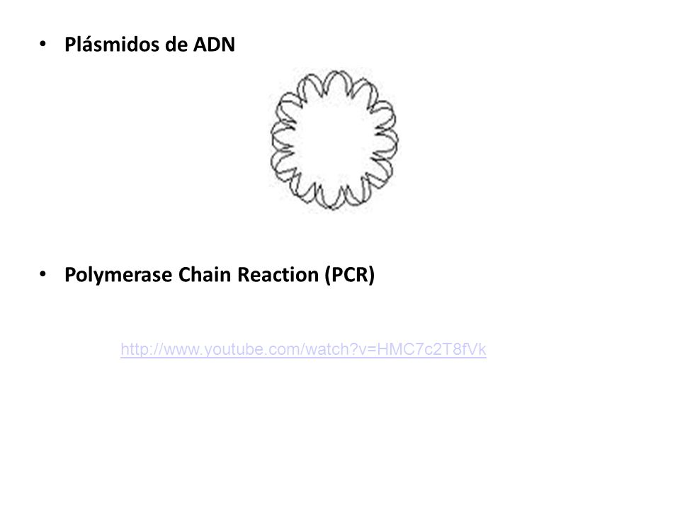 Plásmidos de ADN Polymerase Chain Reaction (PCR) http://www.youtube.com/watch?v=HMC7c2T8fVk