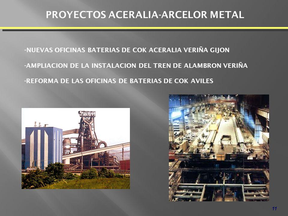 11 PROYECTOS ACERALIA-ARCELOR METAL - NUEVAS OFICINAS BATERIAS DE COK ACERALIA VERIÑA GIJON -AMPLIACION DE LA INSTALACION DEL TREN DE ALAMBRON VERIÑA -REFORMA DE LAS OFICINAS DE BATERIAS DE COK AVILES