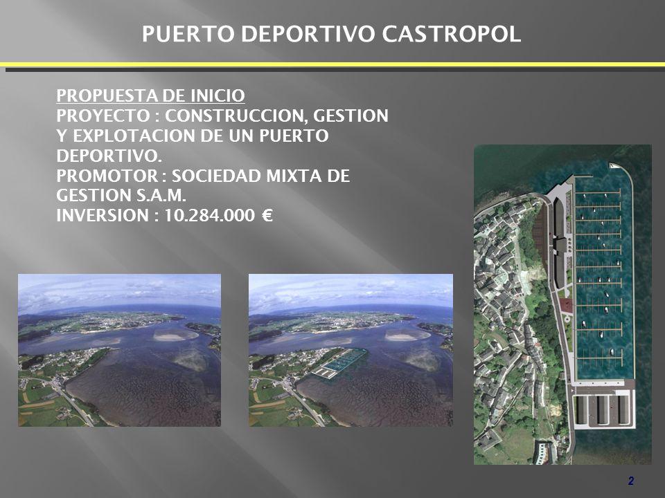 2 PUERTO DEPORTIVO CASTROPOL PROPUESTA DE INICIO PROYECTO : CONSTRUCCION, GESTION Y EXPLOTACION DE UN PUERTO DEPORTIVO. PROMOTOR : SOCIEDAD MIXTA DE G