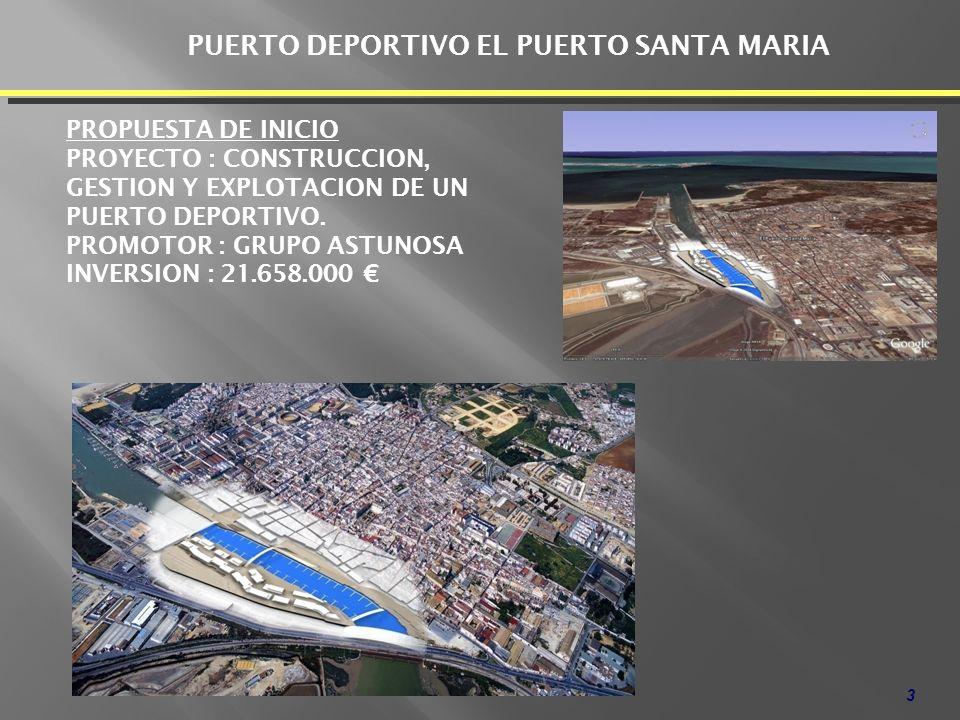 3 PROPUESTA DE INICIO PROYECTO : CONSTRUCCION, GESTION Y EXPLOTACION DE UN PUERTO DEPORTIVO. PROMOTOR : GRUPO ASTUNOSA INVERSION : 21.658.000 PUERTO D