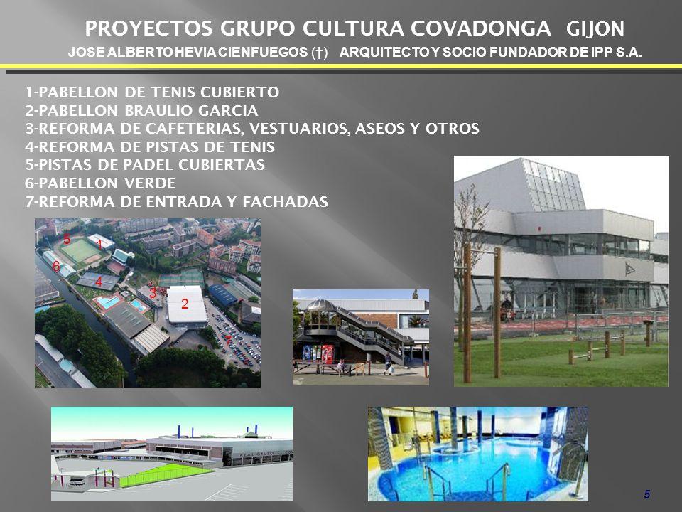 5 PROYECTOS GRUPO CULTURA COVADONGA GIJON 1-PABELLON DE TENIS CUBIERTO 2-PABELLON BRAULIO GARCIA 3-REFORMA DE CAFETERIAS, VESTUARIOS, ASEOS Y OTROS 4-REFORMA DE PISTAS DE TENIS 5-PISTAS DE PADEL CUBIERTAS 6-PABELLON VERDE 7-REFORMA DE ENTRADA Y FACHADAS JOSE ALBERTO HEVIA CIENFUEGOS () ARQUITECTO Y SOCIO FUNDADOR DE IPP S.A.