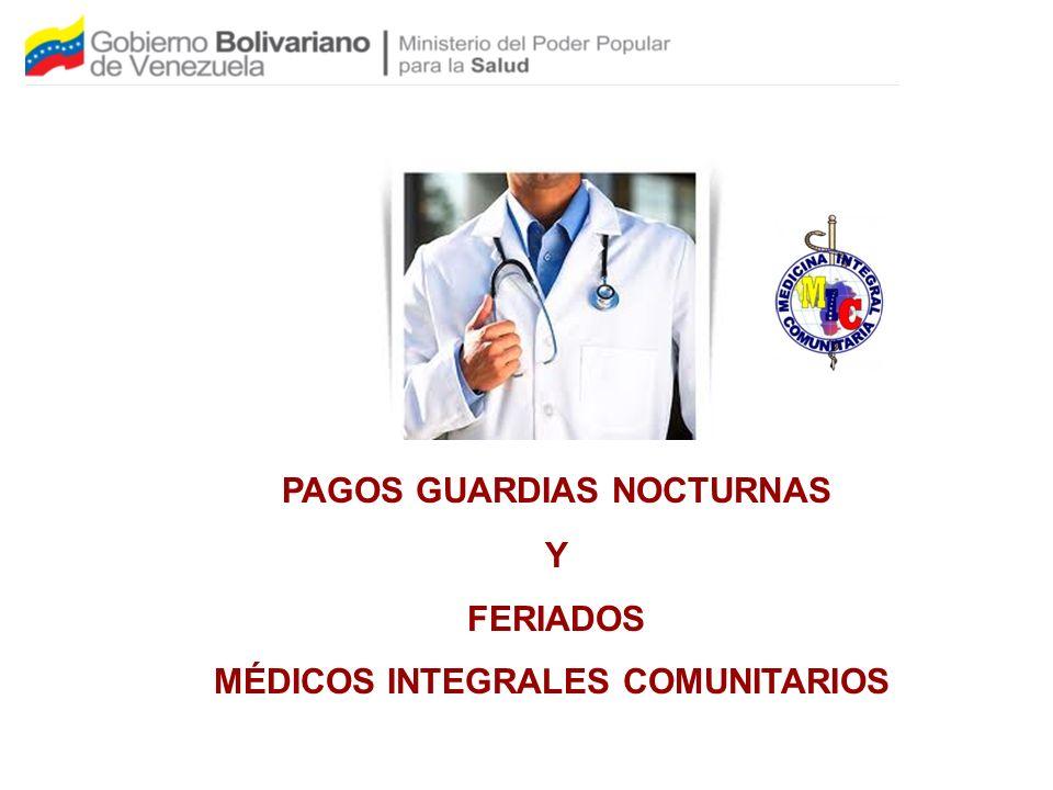 PAGOS GUARDIAS NOCTURNAS Y FERIADOS MÉDICOS INTEGRALES COMUNITARIOS