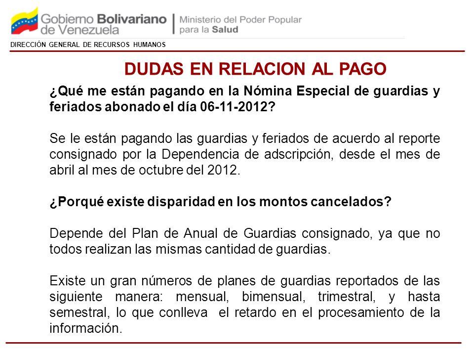 DIRECCIÓN GENERAL DE RECURSOS HUMANOS ¿Qué me están pagando en la Nómina Especial de guardias y feriados abonado el día 06-11-2012.