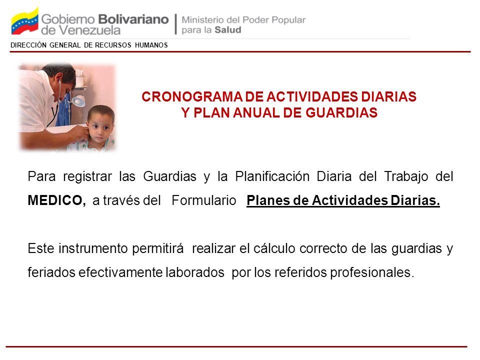 DIRECCIÓN GENERAL DE RECURSOS HUMANOS Para registrar las Guardias y la Planificación Diaria del Trabajo del MEDICO, a través del Formulario Planes de Actividades Diarias.