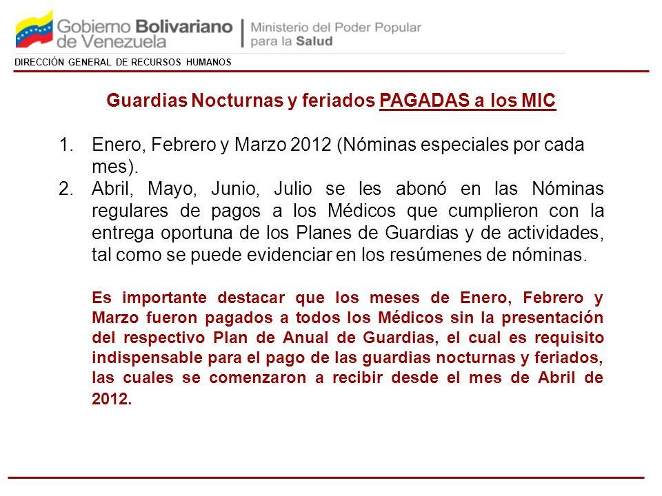 DIRECCIÓN GENERAL DE RECURSOS HUMANOS Guardias Nocturnas y feriados PAGADAS a los MIC 1.Enero, Febrero y Marzo 2012 (Nóminas especiales por cada mes).