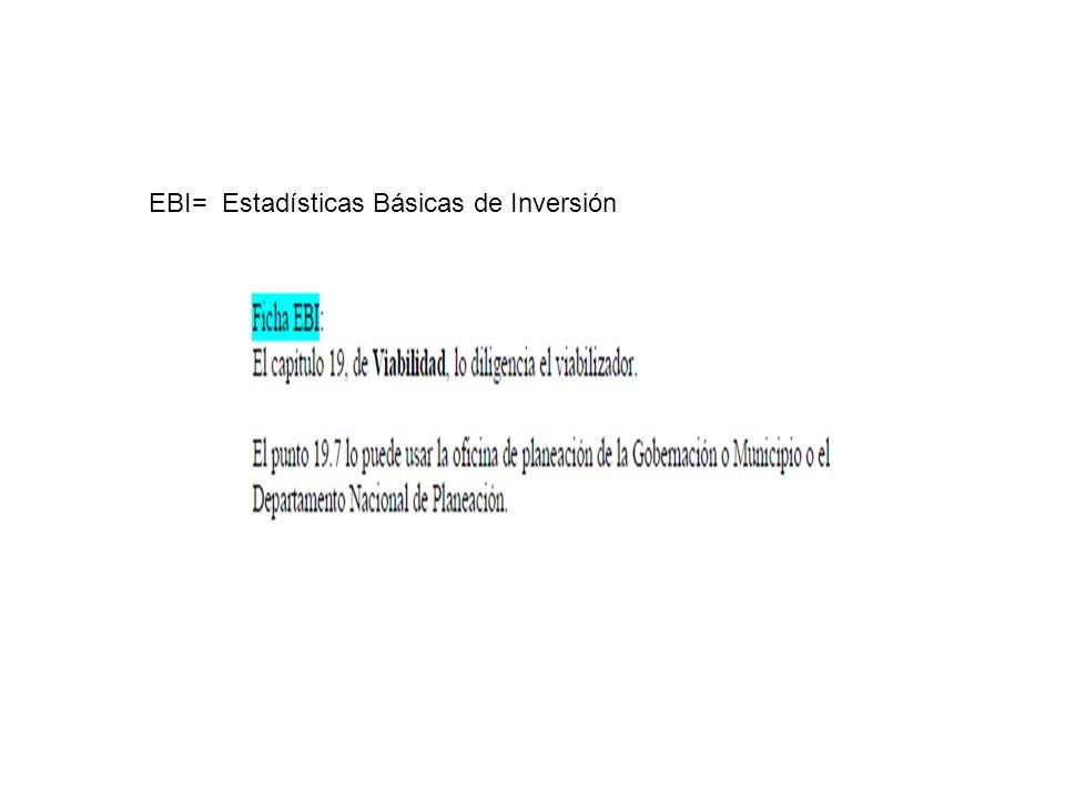 EBI= Estadísticas Básicas de Inversión