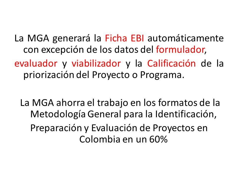La MGA generará la Ficha EBI automáticamente con excepción de los datos del formulador, evaluador y viabilizador y la Calificación de la priorización