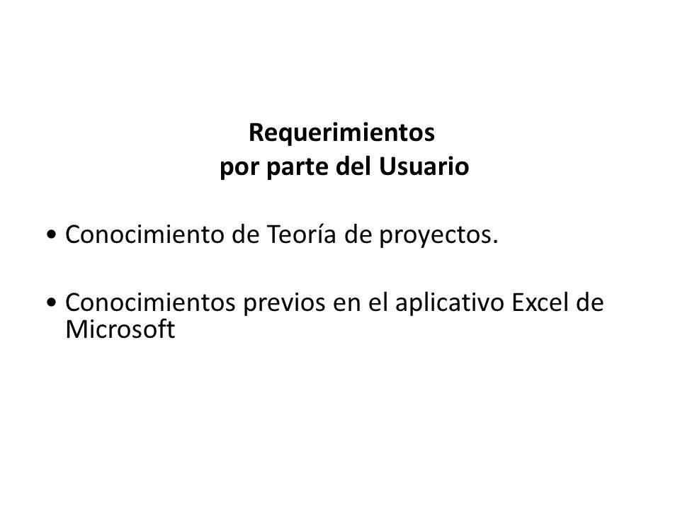 Requerimientos por parte del Usuario Conocimiento de Teoría de proyectos. Conocimientos previos en el aplicativo Excel de Microsoft