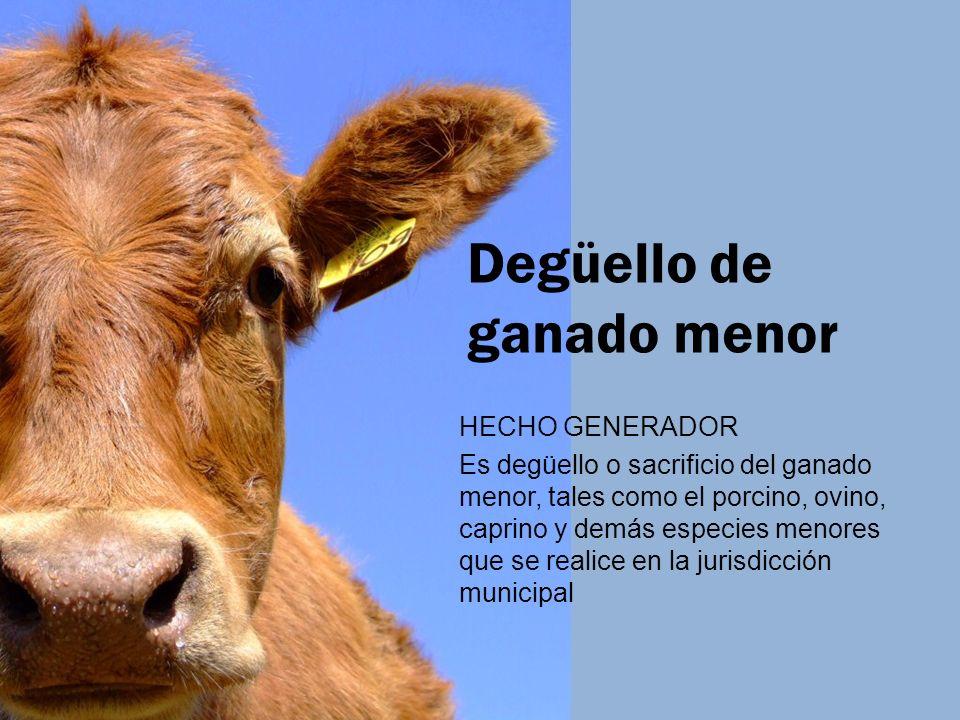 Degüello de ganado menor HECHO GENERADOR Es degüello o sacrificio del ganado menor, tales como el porcino, ovino, caprino y demás especies menores que