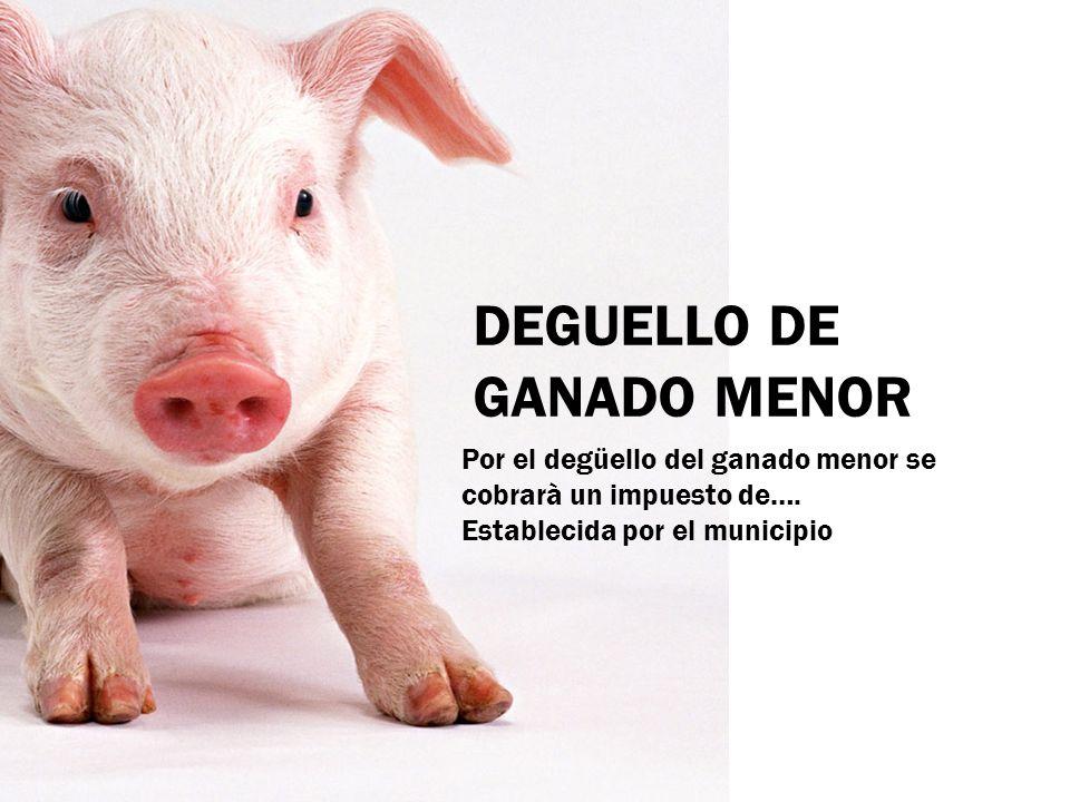 DEGUELLO DE GANADO MENOR Por el degüello del ganado menor se cobrarà un impuesto de…. Establecida por el municipio