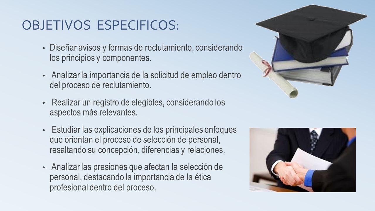 OBJETIVOS ESPECIFICOS: Diseñar avisos y formas de reclutamiento, considerando los principios y componentes. Analizar la importancia de la solicitud de