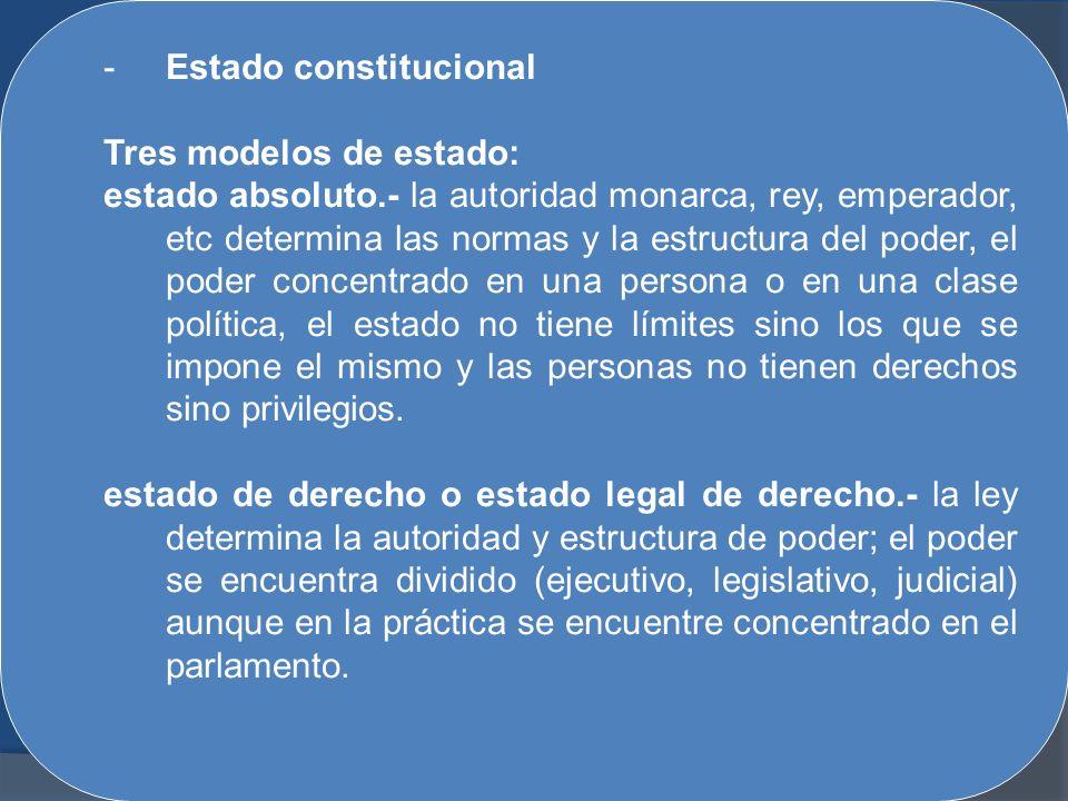 -Estado constitucional Tres modelos de estado: estado absoluto.- la autoridad monarca, rey, emperador, etc determina las normas y la estructura del po