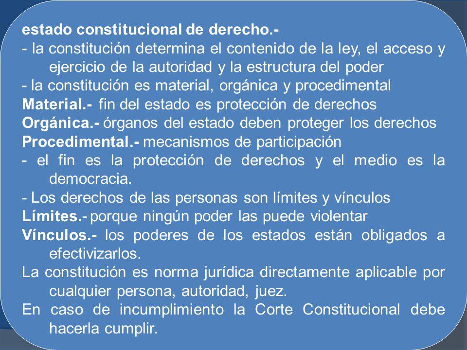estado constitucional de derecho.- - la constitución determina el contenido de la ley, el acceso y ejercicio de la autoridad y la estructura del poder