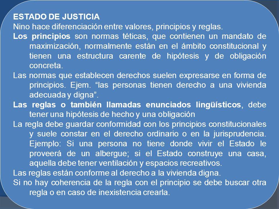 ESTADO DE JUSTICIA Nino hace diferenciación entre valores, principios y reglas. Los principios son normas téticas, que contienen un mandato de maximiz