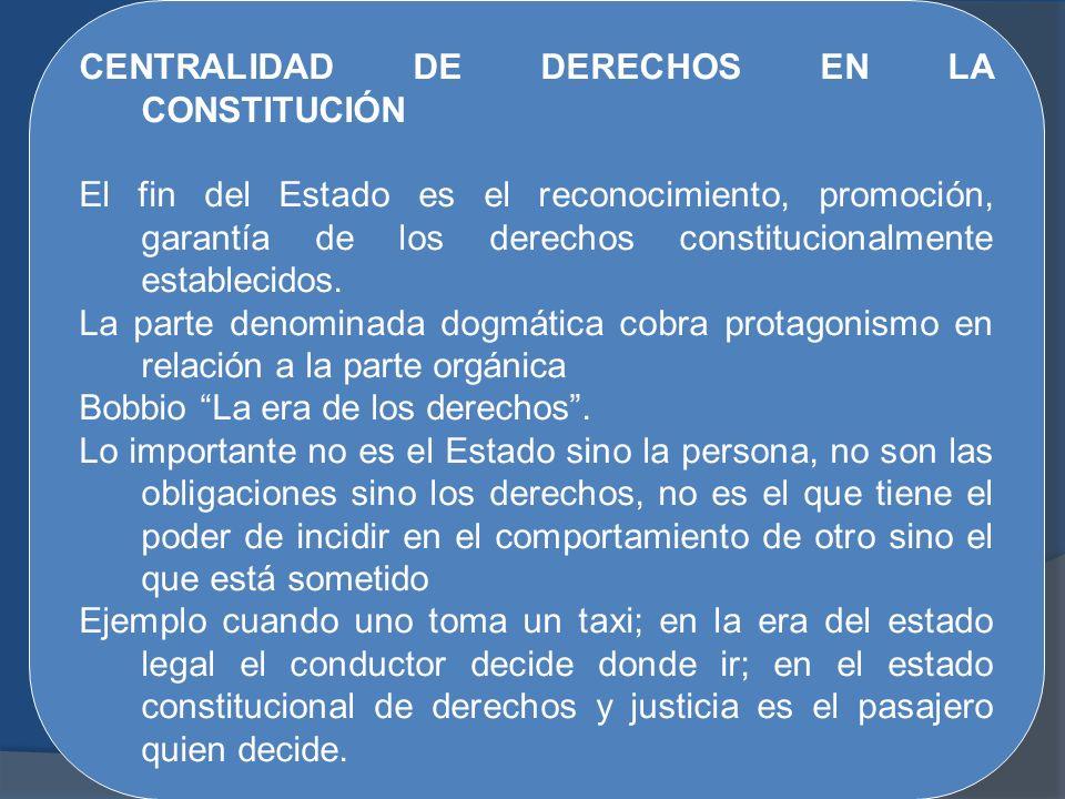CENTRALIDAD DE DERECHOS EN LA CONSTITUCIÓN El fin del Estado es el reconocimiento, promoción, garantía de los derechos constitucionalmente establecido