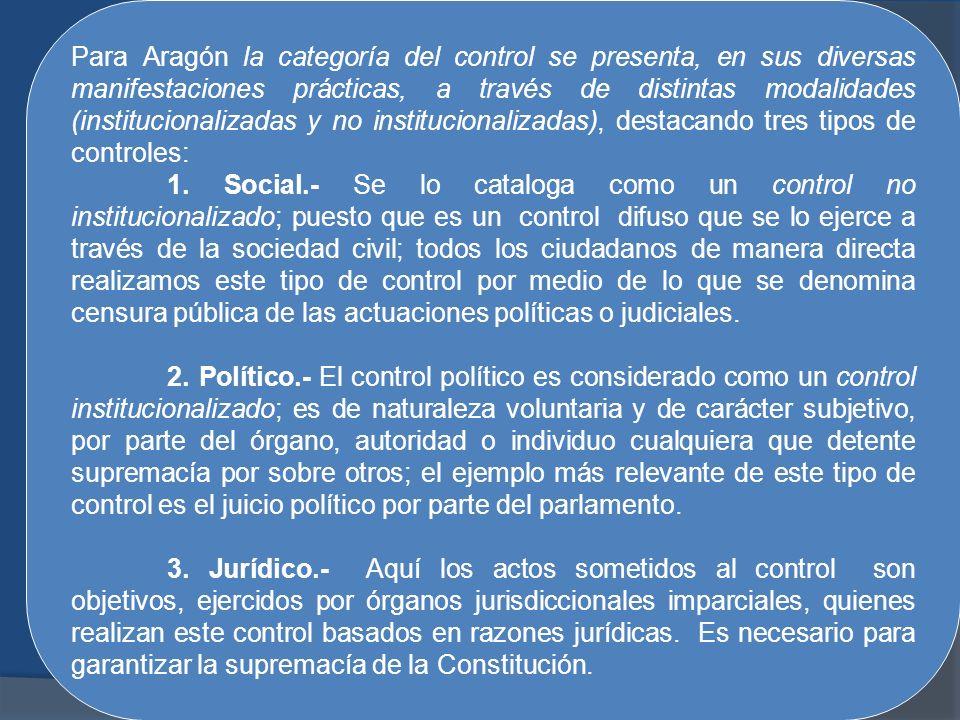 Para Aragón la categoría del control se presenta, en sus diversas manifestaciones prácticas, a través de distintas modalidades (institucionalizadas y