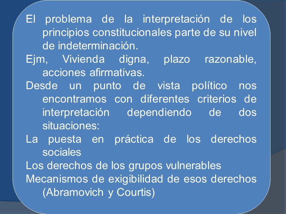 El problema de la interpretación de los principios constitucionales parte de su nivel de indeterminación. Ejm, Vivienda digna, plazo razonable, accion