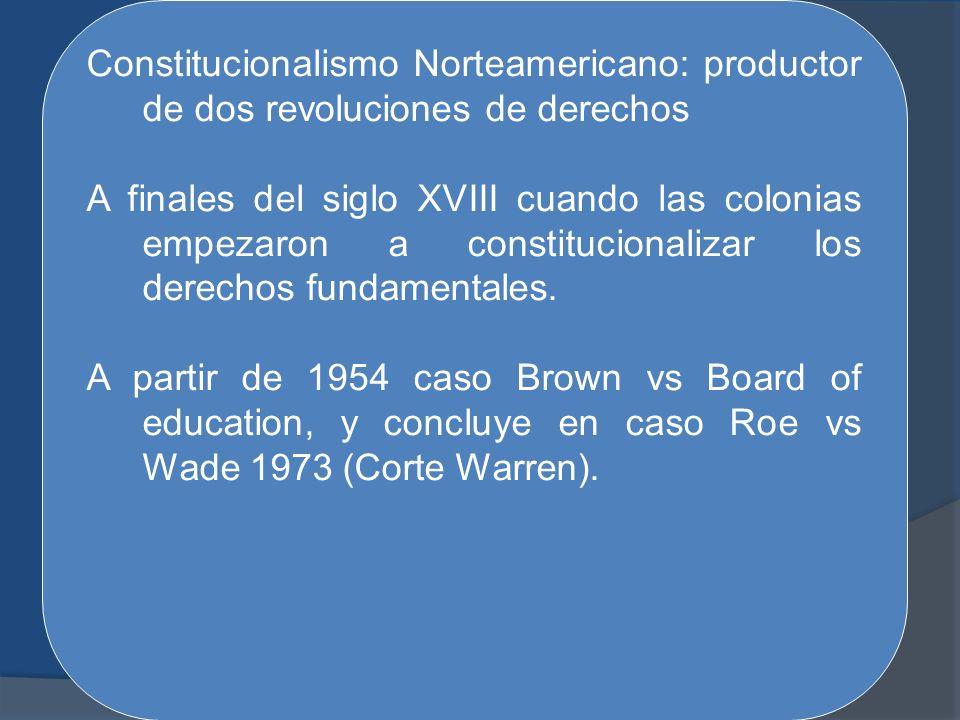 Constitucionalismo Norteamericano: productor de dos revoluciones de derechos A finales del siglo XVIII cuando las colonias empezaron a constitucionali