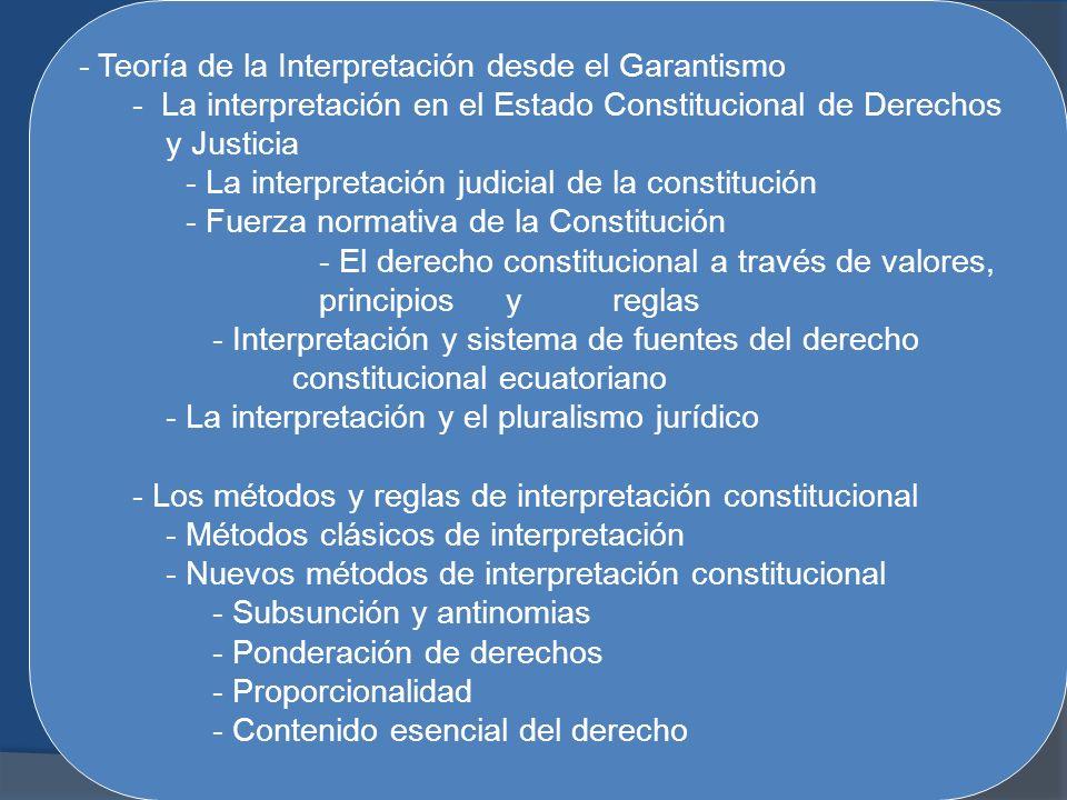 - Teoría de la Interpretación desde el Garantismo - La interpretación en el Estado Constitucional de Derechos y Justicia - La interpretación judicial