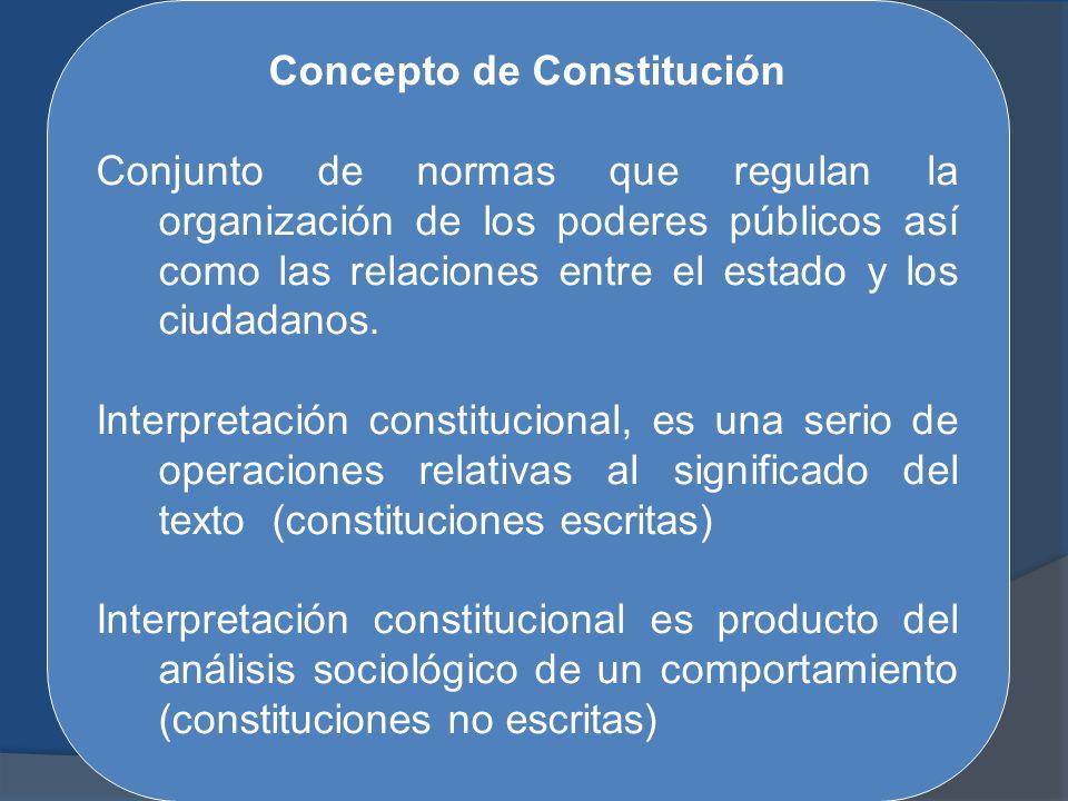 Concepto de Constitución Conjunto de normas que regulan la organización de los poderes públicos así como las relaciones entre el estado y los ciudadan