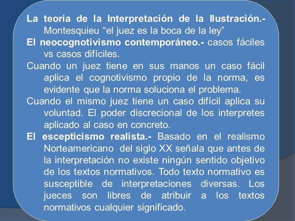 La teoría de la Interpretación de la Ilustración.- Montesquieu el juez es la boca de la ley El neocognotivismo contemporáneo.- casos fáciles vs casos