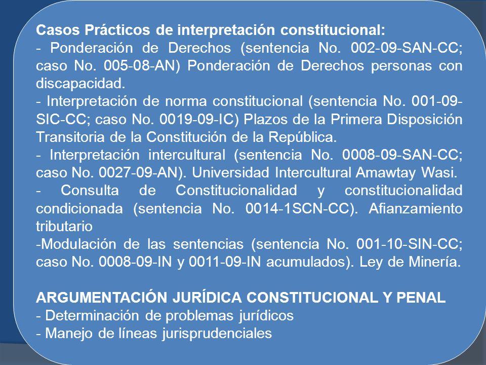 Casos Prácticos de interpretación constitucional: - Ponderación de Derechos (sentencia No. 002-09-SAN-CC; caso No. 005-08-AN) Ponderación de Derechos