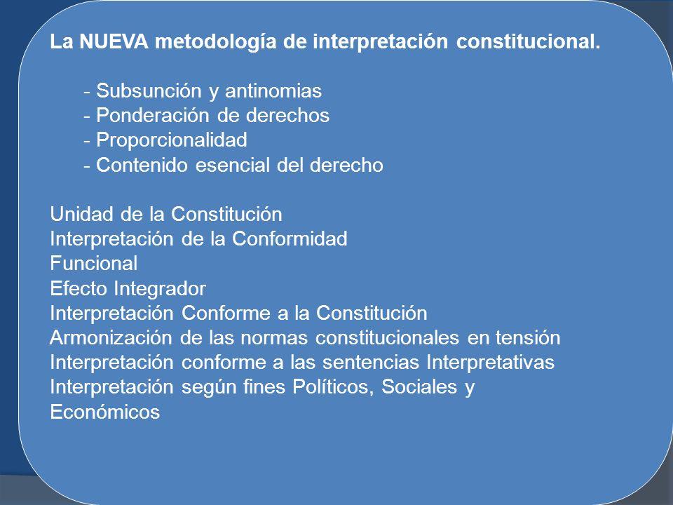 La NUEVA metodología de interpretación constitucional. - Subsunción y antinomias - Ponderación de derechos - Proporcionalidad - Contenido esencial del