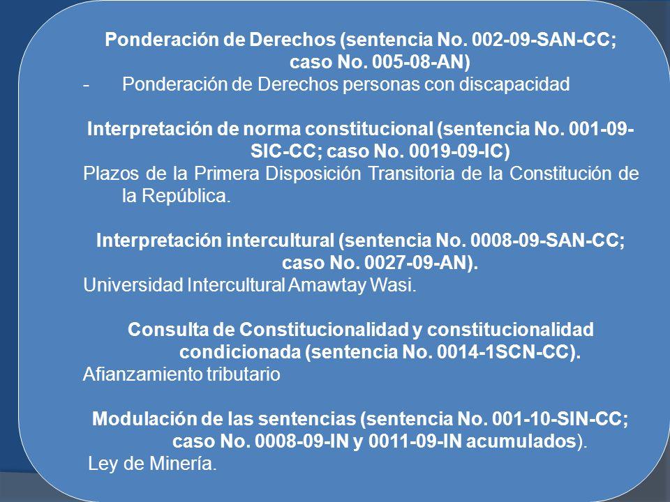 Ponderación de Derechos (sentencia No. 002-09-SAN-CC; caso No. 005-08-AN) -Ponderación de Derechos personas con discapacidad Interpretación de norma c