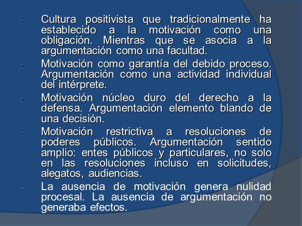- Cultura positivista que tradicionalmente ha establecido a la motivación como una obligación. Mientras que se asocia a la argumentación como una facu