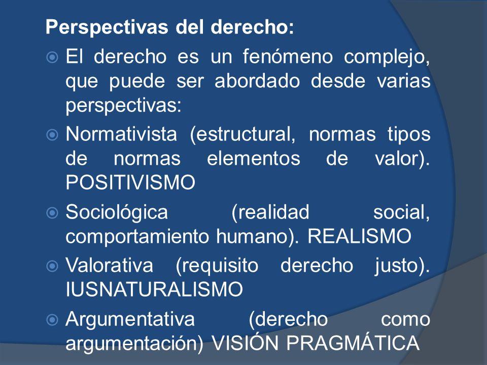 Perspectivas del derecho: El derecho es un fenómeno complejo, que puede ser abordado desde varias perspectivas: Normativista (estructural, normas tipo