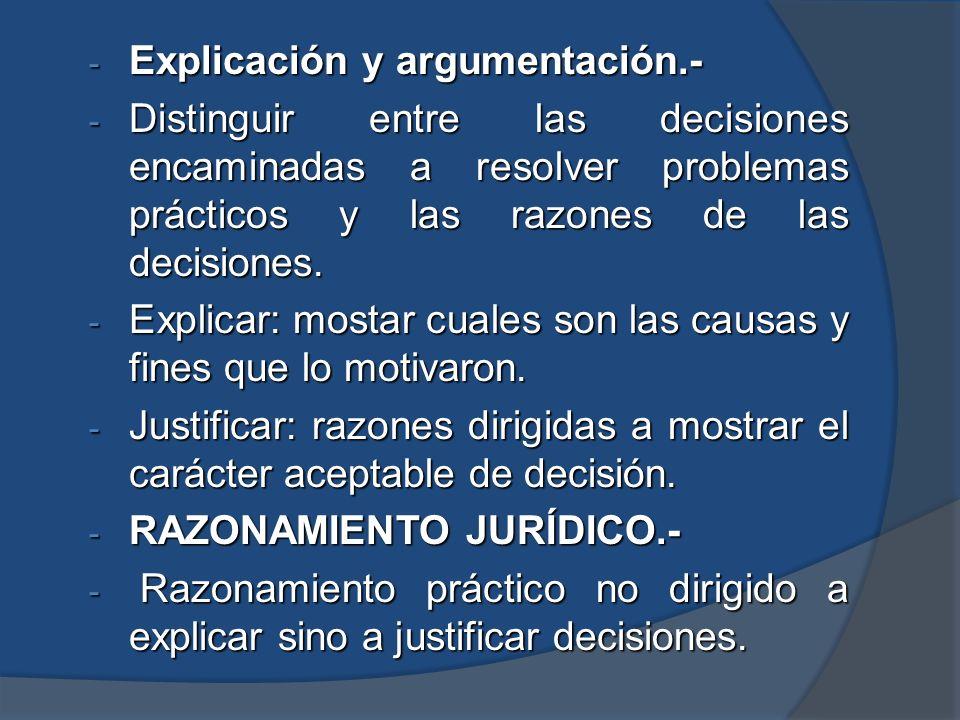 - Explicación y argumentación.- - Distinguir entre las decisiones encaminadas a resolver problemas prácticos y las razones de las decisiones. - Explic