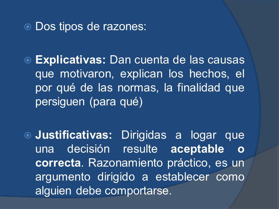 Dos tipos de razones: Explicativas: Dan cuenta de las causas que motivaron, explican los hechos, el por qué de las normas, la finalidad que persiguen