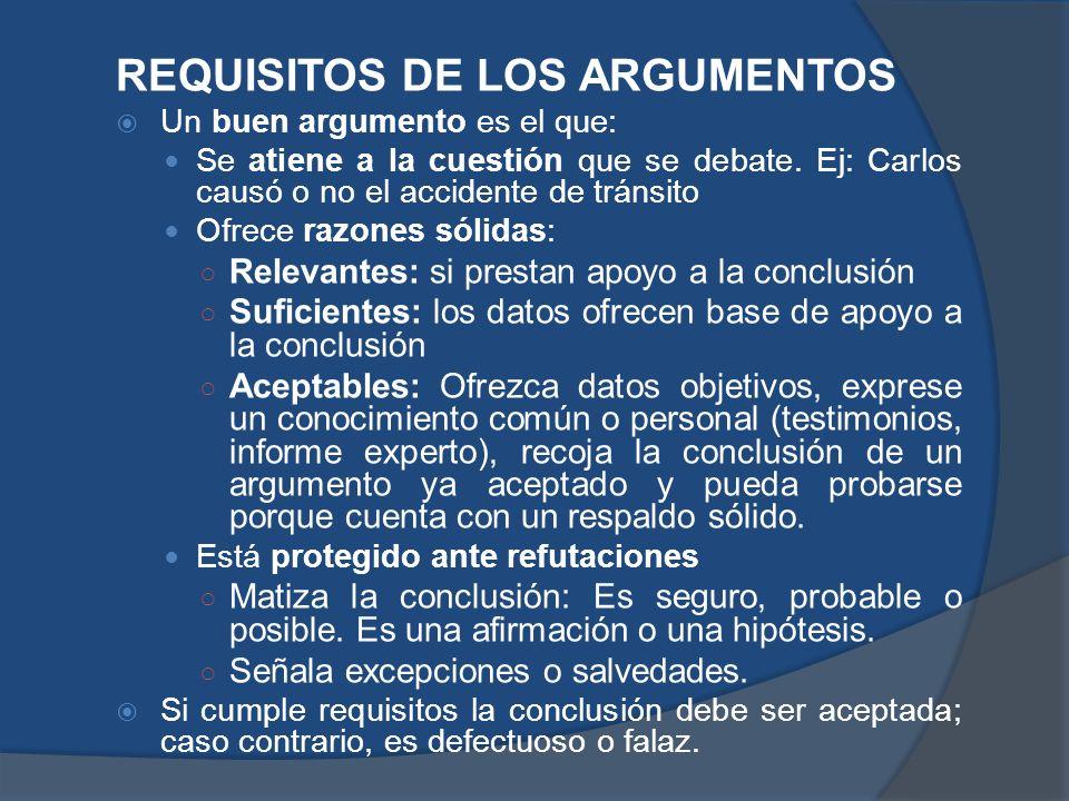 REQUISITOS DE LOS ARGUMENTOS Un buen argumento es el que: Se atiene a la cuestión que se debate. Ej: Carlos causó o no el accidente de tránsito Ofrece