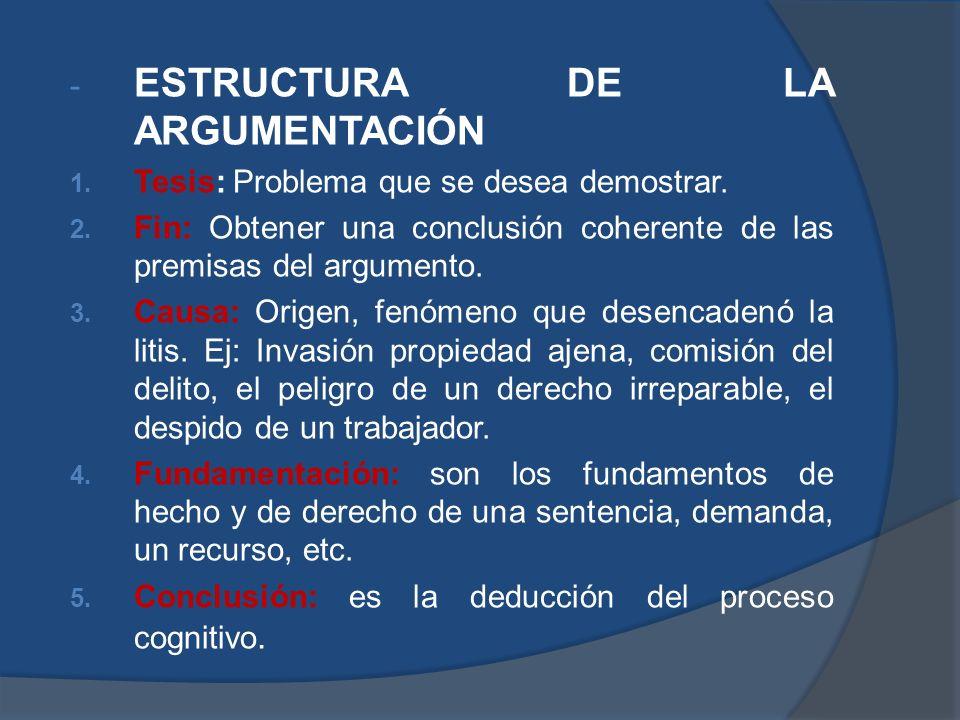 - ESTRUCTURA DE LA ARGUMENTACIÓN 1. Tesis: Problema que se desea demostrar. 2. Fin: Obtener una conclusión coherente de las premisas del argumento. 3.
