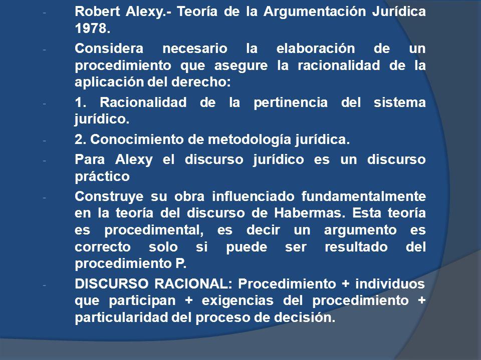 - Robert Alexy.- Teoría de la Argumentación Jurídica 1978. - Considera necesario la elaboración de un procedimiento que asegure la racionalidad de la