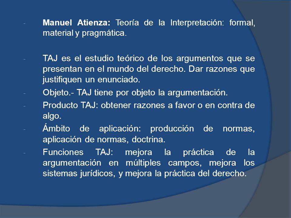 - Manuel Atienza: Teoría de la Interpretación: formal, material y pragmática. - TAJ es el estudio teórico de los argumentos que se presentan en el mun