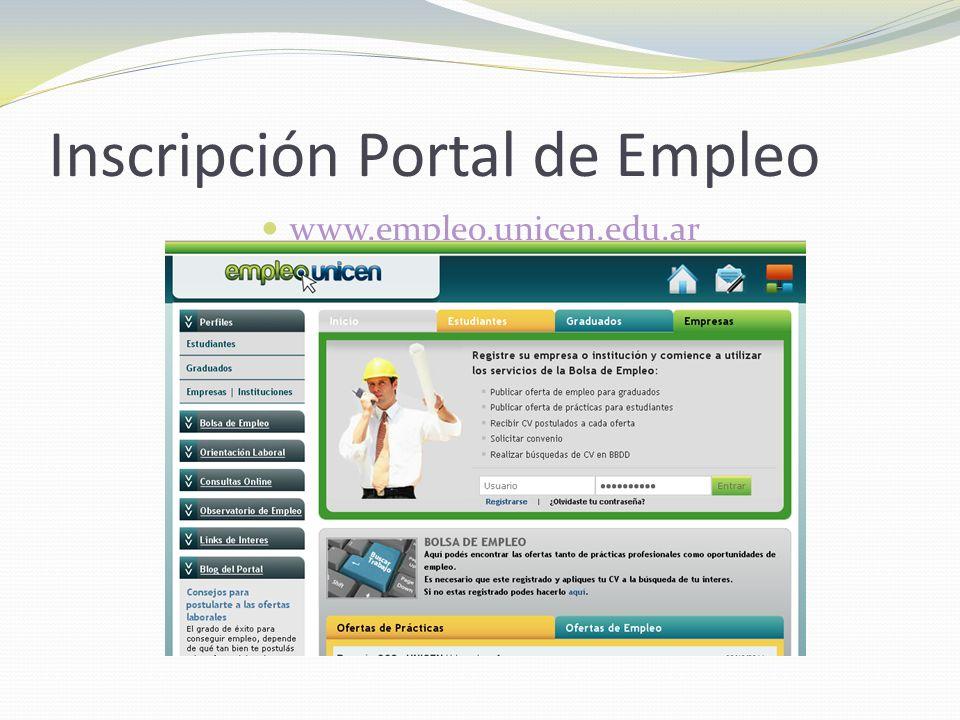 Inscripción Portal de Empleo www.empleo.unicen.edu.ar