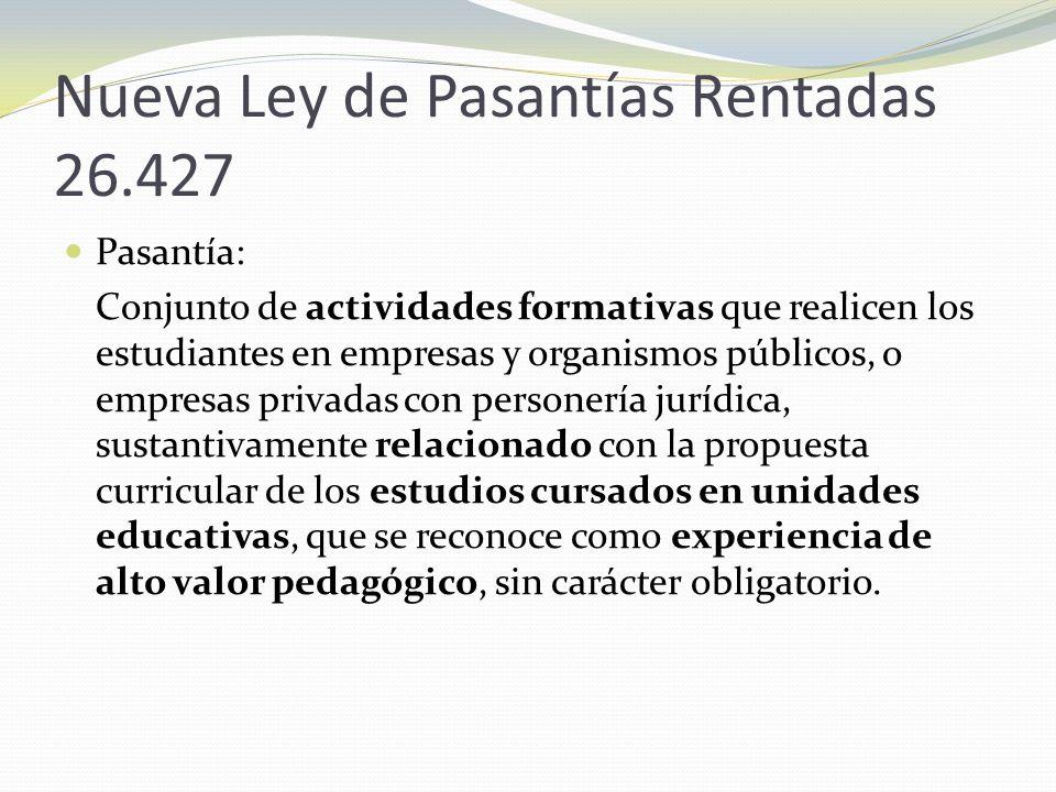 Nueva Ley de Pasantías Rentadas 26.427 Pasantía: Conjunto de actividades formativas que realicen los estudiantes en empresas y organismos públicos, o