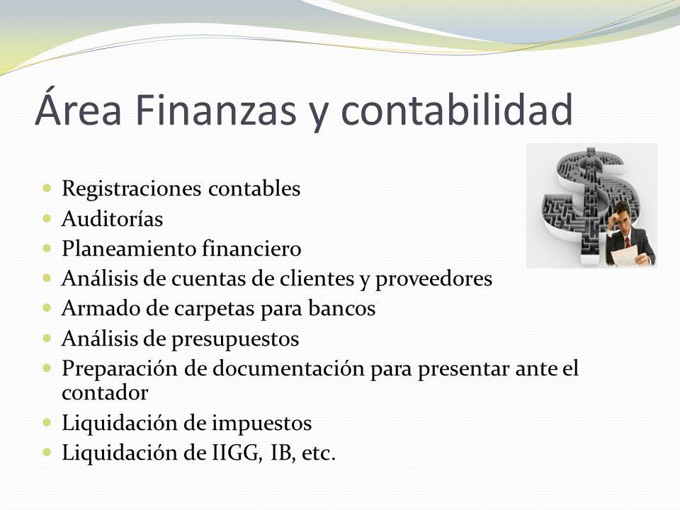 Área Finanzas y contabilidad Registraciones contables Auditorías Planeamiento financiero Análisis de cuentas de clientes y proveedores Armado de carpe