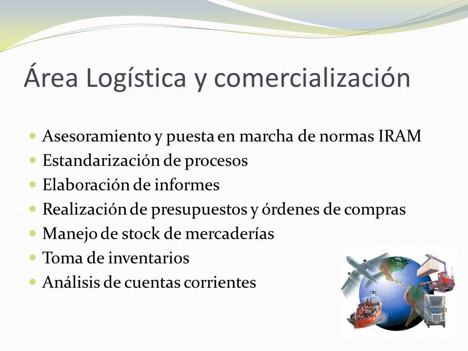 Área Logística y comercialización Asesoramiento y puesta en marcha de normas IRAM Estandarización de procesos Elaboración de informes Realización de p